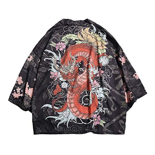 Uomo Estate Kimono Giapponese Loose Fit Cappotto Jacket Cardigan 1 M