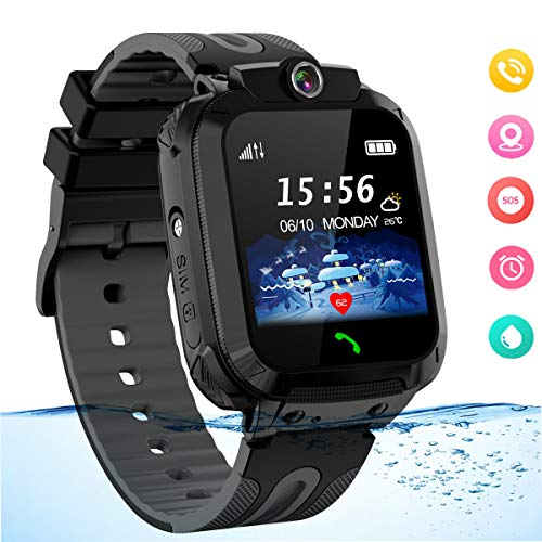 Kids Smartwatch Phone, Children Waterproof Smart Watch Touchscreen with SOS Voice Chat Camera Alarm Clock Flashlight Digital LBS Track Wrist Watch Christmas Birthday Gifts for School Boys Girls-Negro