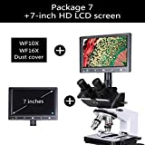 LIMEI-ZEN Microscope Professional Lab Biological HD trinocular Microscope Zoom 1600X Eyepiece Electronic Digital 7-inch LCD led Light Phone Stand USB (Color : Package 7)