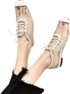 298849d00046 Sandals Flats for Women Square Toe Lace Up Cover Heel Transparent Jelly  Shoes