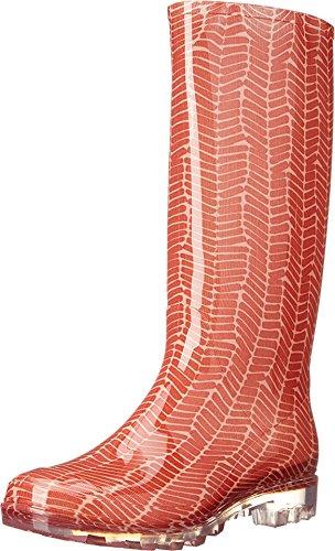 TOMS Women's Cabril Rain Boots Red Herringbone Size 5