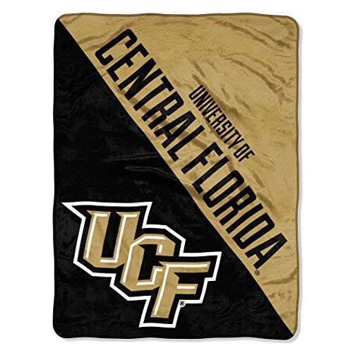 """46""""x60"""" Gold Black NCAA UCF Knights Micro Raschel Throw Sports Patterned Team Logo Printed Plush Blanket Football Basketball Bedding Athletic Games Lover Halftone Design Soft Warmth Polyester, Unisex"""