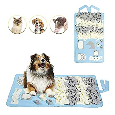 Petvins Dog Snuffle Mat Treat Blanket, Pet Puzzle Activity Mat for Stress Release, Nose Work Mat for Slow Feeding and Foraging Training Blue