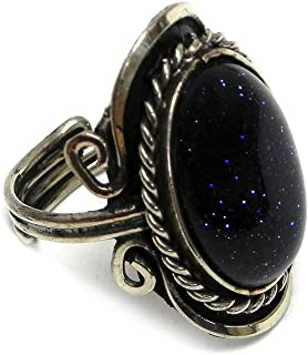Mia Jewel Shop Natural Semi Precious Oval Shaped Gemstone Silver Rope Edge Adjustable Ring