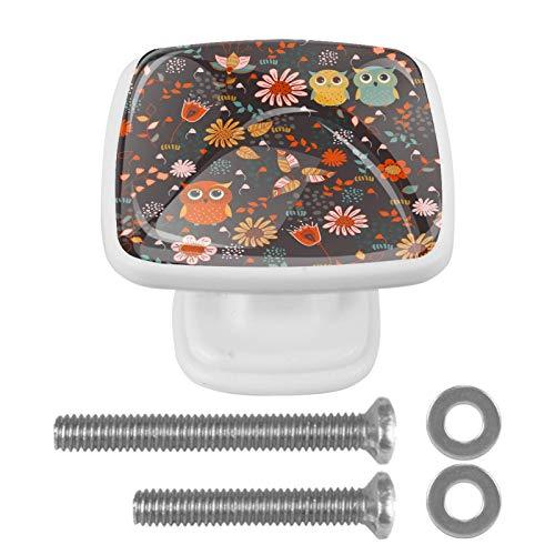 [4 piezas] Tiradores de cajón de cristal transparente con tornillos para cocina, aparador, armario, baño, armario, lindos dibujos animados, animales bosque, búhos florales