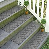 Bungalow Flooring Waterhog Stair Treads, Set of 4, 8-1/2 x 30 inches, Made in USA, Durable and Decorative Floor Covering, Indoor/Outdoor, Water-Trapping, Cordova Collection, Medium Grey