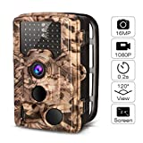 AIMTOM 16MP 1080p Trail Game Camera - Fastest 0.2S Trigger Full HD Waterproof Deer Hunting Cameras - Motion Activated Infrared LED Flash 120° Wide Angle For Wildlife Nature Shots Outdoor Security Cams