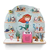 Kinder Regal für Musikbox I Motiv Meerjungfrau I Geeignet für die Toniebox und ca. 45 Tonies I Geschenk I Geschenkidee I Spielen I Sammeln I Aufstellen oder Aufhängen - mit breiten Boden