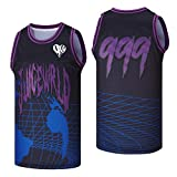 borizjersey Men's 999 On Drugs Globe Hip Hop Rap Basketball Jersey Stitched Dark Purple Size M