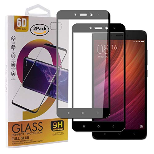 Guran [2 Paquete Protector de Pantalla para Xiaomi Redmi Note 4X Smartphone Cobertura Completa Protección 9H Dureza Alta Definicion Vidrio Templado Película - Negro