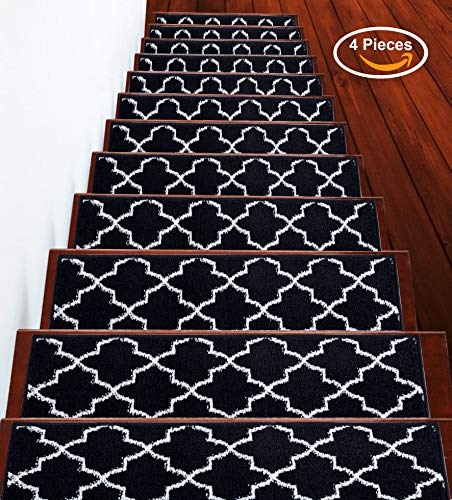 Stair Treads Trellisville Collection Contemporary, Cozy, Vibrant and Soft Stair Treads | Navy & White, 9' x 28' | Pack of 4 [100% Polypropylene]