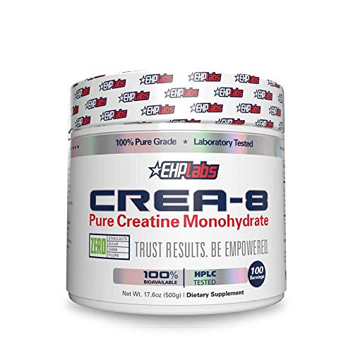 CREA-8 Creatine Monohydrate (500g) by EHPlabs - Builds Lean Muscle Mass, Improves Strength & Power, Speeds Up Recovery Times - 100 Servings