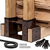 Tidyboss 2Pack Firewood Bracket Rack Outdoor Fireplace Log Wood Storage Lumber Pile | Heavy Duty Steel Fire Pit Accessory Adjustable Length with Seal Strip, Gloves and Screws (Dark Brown)