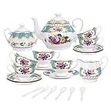 fanquare 15 Piezas Juegos de Té de Porcelana Inglesa Turquesa, Vintage Juego de Café de Flores Rosas, Servicio de Té de Boda para Adultos