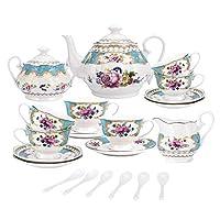 fanquare 15 pezzi servizio da tè in porcellana turchese inglesi,vintage set tazzine da caffè cinese con fiori di rosa,servizio di caffè per matrimoni per adulti