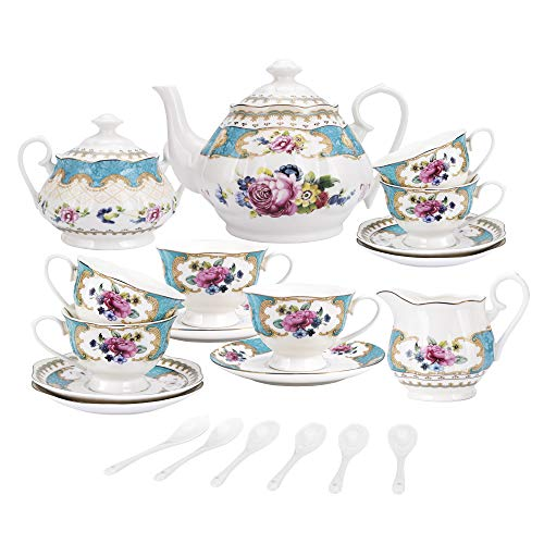 fanquare 15 Pieces European Retro Rose Tea Set,English Flora Tea Set for Adults,Porcelain Coffee Set