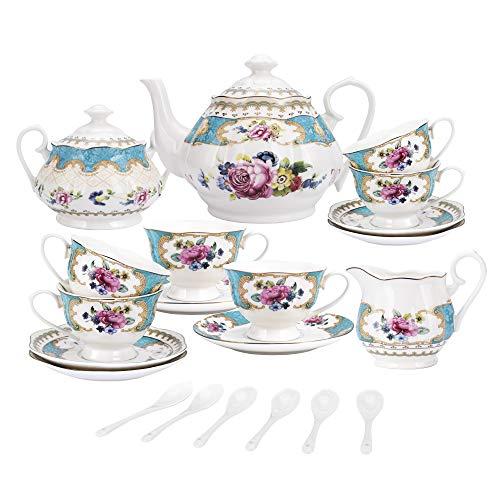 fanquare 15 Stück Englisch Türkis Porzellan Tee Sets,Vintage Rose Blumen Keramik Kaffee Set,Hochzeit Tee Service für Erwachsene