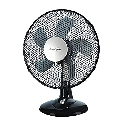 AirArtDeco Electric Desk Fan, 12 inch Oscillating Cooling Fan with 3 Speed Settings, Ideal for Home and Office – White