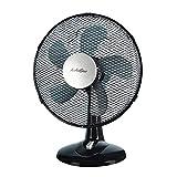 AirArtDeco Ventilador de Mesa de 12 Pulgadas(30 cm), Ventilador de Enfriamiento Oscilante de con 3 Configuraciones de Velocidad, Posición silenciosa, Ideal para el Hogar y la Oficina - Negro/Plata