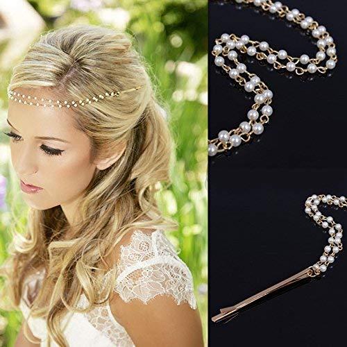 'Cheveux klammer Goutte imitation Cheveux Perles Chaîne Bijoux de mariée cheveux bijoux cheveux, aiguilles spiralen quasten Cheveux Spange Cheveux, bijoux, or blanc