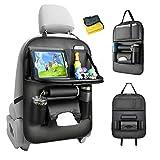 Heyham Protezione Sedile Auto Bambini, PU Leather Proteggi Sedili Auto Bambini Organizer Auto con Multi-Tasca e tavolino Pieghevole iPad Porta Tablet Auto -1PC
