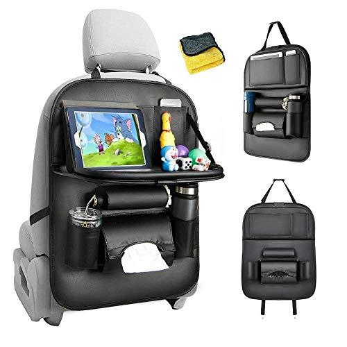 Protezione Sedile Auto Bambini, PU leather Proteggi Sedili Auto Bambini Organizer Auto con Multi-tasca e tavolino pieghevole iPad porta tablet auto -1PC