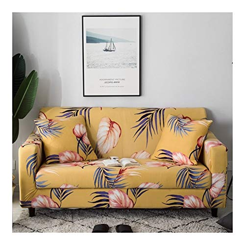 ZIJ Funda elástica elástica para sofá con impresión floral, antideslizante, para sala de estar, totalmente envuelta, antipolvo, color 15, tamaño: 1 plaza, 90 140 cm)