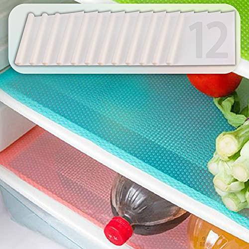 MayNest - 12 alfombrillas para frigorífico, impermeables, antideslizantes, EVA, para cajones, estanterías, armarios y manteles...