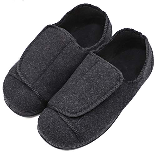 Womens Diabetic Edema Slippers with Adjustable Closures Wide Width House Diabetes Strap Footwear Comfortable Orthopedic Shoes Easy On Off for Elderly Wide Swollen Feet Arthritis Black