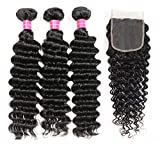 Upgraded 9A Brazilian Deep Wave Human Hair 3 Bundles with Closure Unprocessed Brazilian Human Hair Deep Curly Hair Weave Bundles with Lace Closure Natural Color (10 12 14+10)