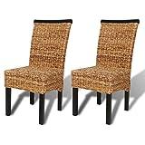vidaXL 2x Chaise Salle à Manger Abaca Marron Chaise de cuisine Chaise à Manger
