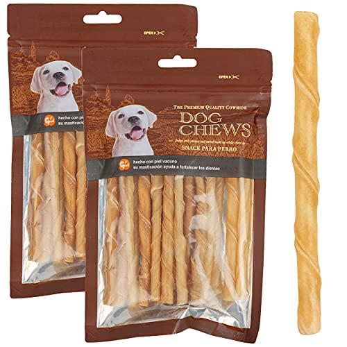 Barritas Masticables para Perro, Palito Piel Espiral, Snacks de Piel para Perros,Cuero Rollos ( 7-9mm, 50 Piezas)