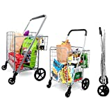 SUPENICE Jumbo Shopping Cart with Double Basket Grocery Cart-160 lbs Capacity Deluxe Folding Shopping Cart