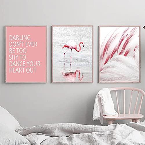 YCHND Citas de flamencos de mar de Plumas Rosadas Modernas Arte de la Pared Pintura de la Lona Carteles nórdicos Impresiones Imágenes para la Sala de Estar Decoración del hogar 40x60cmx3 Sin Marco