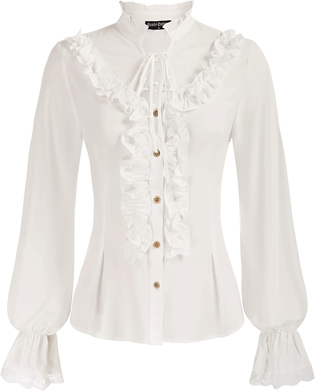 Scarlet Darkness Women Victorian Lolita Shirt Ruffled Long Sleeves Shirt