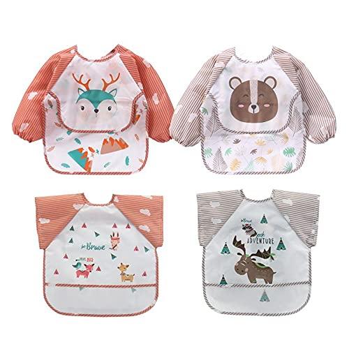 MUMO Babero con mangas impermeables para niños de 6 a 36 meses, juego de baberos para bebés de 4 piezas, 2 mangas largas y 2 mangas cortas, delantal para jugar/pintar y comer