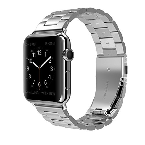Shengbiao Compatible con Apple Watch Band 42 mm 44 mm, Acero Inoxidable, Correa de Metal de Repuesto para Apple Watch Series 4 3 2 1