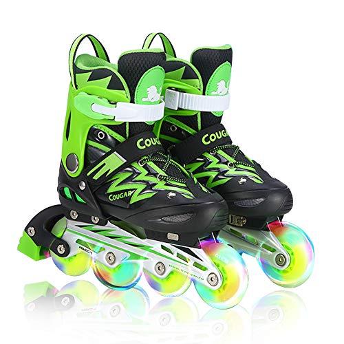 GGOODD Rueda de Flash de Luz LED Patín en Línea Automática De Skate Zapatillas Ajustables Talla Patines de Ruedas para Niños y Niñas