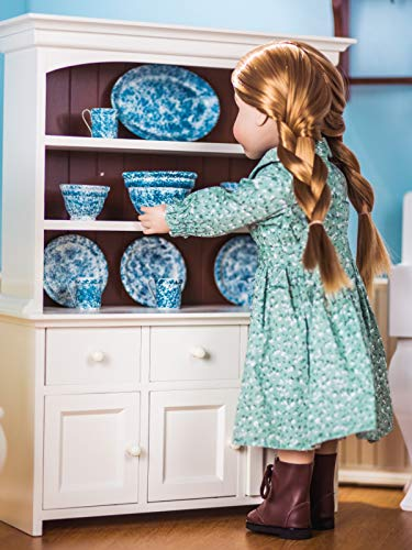 The Queen's Treasures 18 ' Inch Doll Wooden Farmhouse Collection Step Back Kitchen Cupboard Dish Hutch Compatible with American Girl Doll Houses, Furniture & Accessories