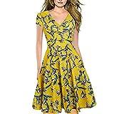 Vestidos Elegantes Floral Niña Mujer Verano, Amarillo Boho Chic Vestidos Tallas Grandes, Cuello en V Vestidos, hasta la Rodilla Plisado Vestido Coctel, Fiesta, Casual(M)