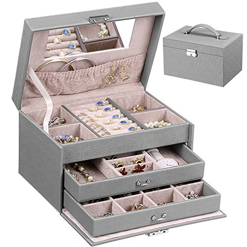 ANWBROAD 24 Section Jewelry Box Jewelry Organizer Box Display Storage Case Holder with Lock Mirror Girls Jewelry Box for Earrings Rings Necklaces Bracelets Earrings Gift Grey Faux Leather JJB002H