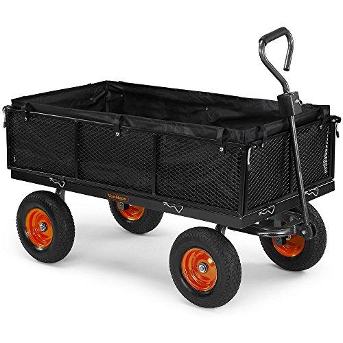 VonHaus Mesh Garden Cart with Lining - Heavy Duty 4 Wheeled Garden DIY Trailer and Trolley - 600kg Weight Capacity