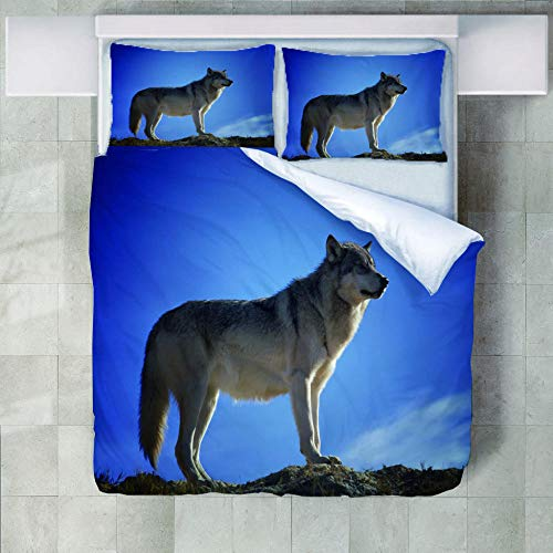 JNBGYAPS 3D Effect Printed duvet cover Lone wolf Bedding set with Pillocases (with Zipper Closure) Soft Microfiber Quilt Cover Single200X200cm