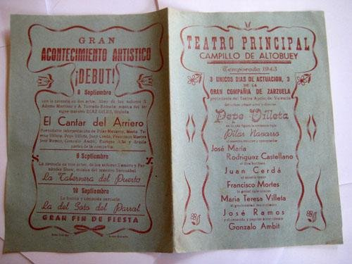 Folleto Publicidad - Advertising Brochure : TEATRO PRINCIPAL CAMPILLO DE ALTOBUEY. 1943