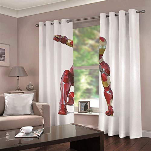 ARTEZXX Blackout Curtains 3D Red Robot Waterproof Mildew Resistant Polyester Fabric Curtains Thermal Insulated Window Curtains For Living Room Office Bedroom (2 Panel) 2 x 55.11' x 98.42'