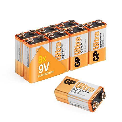 9v battery (PP3, 6LR61, MN1604, E-Block, 9 Volt) Pack of 8 | Ultra Alkaline by GP Batteries| Superb...
