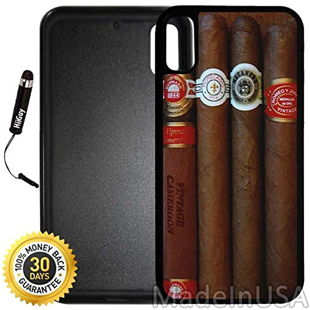 Custom iPhone X/XS Case (Expensive Cuban Cigar) Edge-to-Edge Rubber Black Cover with Shock and Scratch Protection | Lightweight, Ultra-Slim | Includes Stylus Pen by INNOSUB