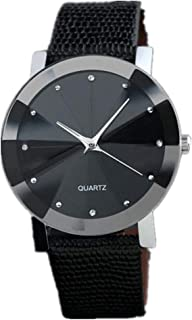 Men's Watch, Luxury Quartz Sport Military Stainless Steel Dial Leather Band Wrist Watch