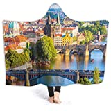 BohoMonos Manta con Capucha Personalizada,Bridges of Prague, Hotel República Checa, Suave Sherpa Fleece usable Throw Manta Cama Hogar Sofá Viaje 80 'X60'