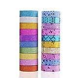 Ototon Washi Tape Paillettes Ruban Adhésif Scintillant Masking Tape Papier Décoratif pour DIY Emballage Scrapbooking Artisanat Enfants 20pcs